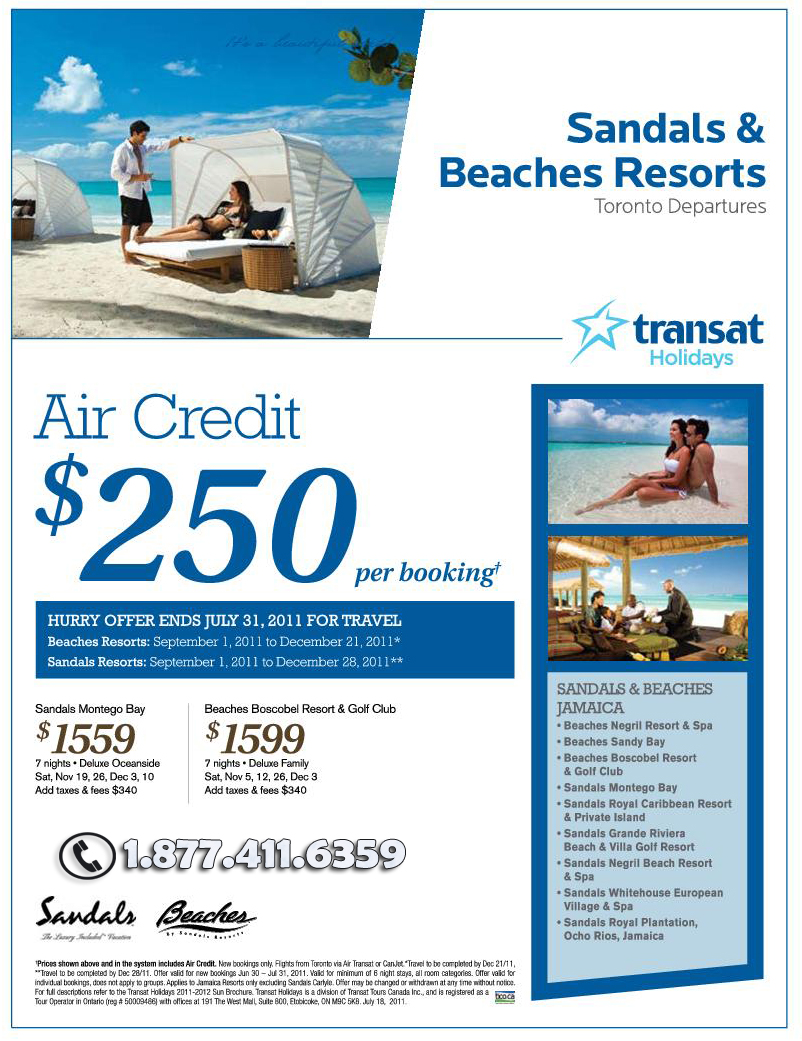 $250 Air Credit Deal with Transat Holidays