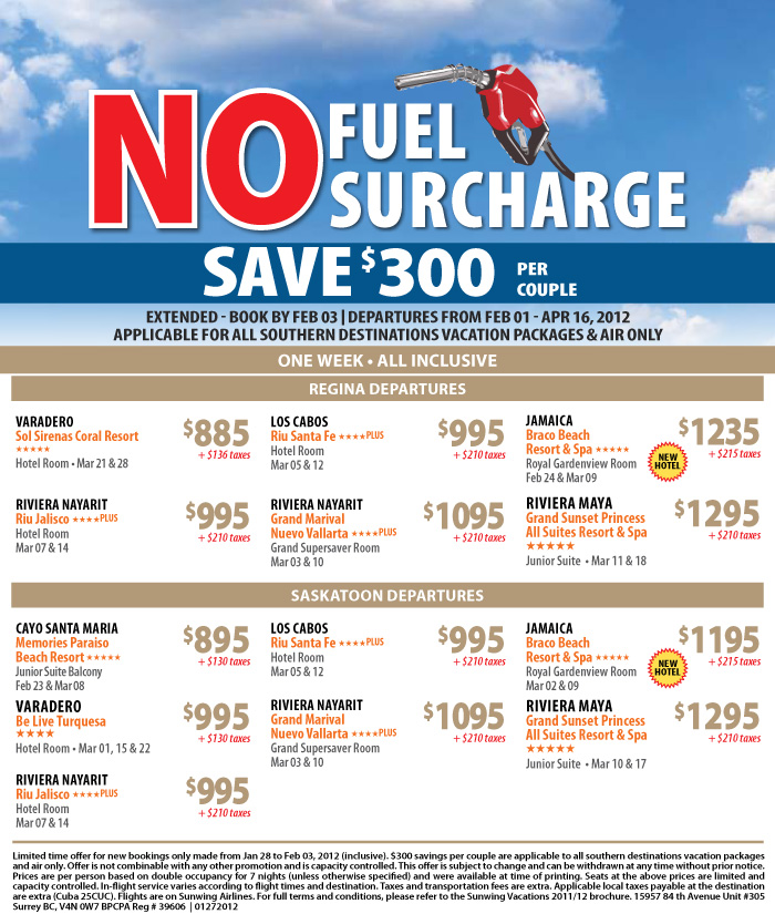 Sunwing Vacations No Fuel Surcharge Sunwing Specials Sunwing No Fuel Surcharge Save Per