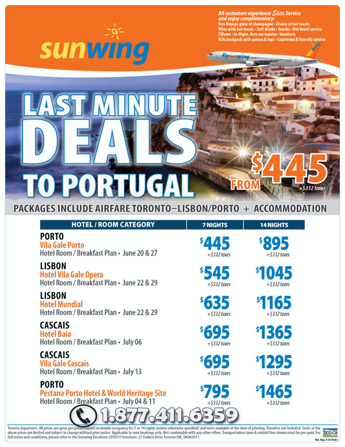 Sunwing Vacations Specials - Last Minute Deals to Portugal