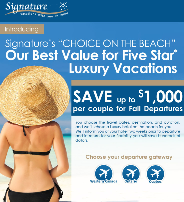 Signature Vacations Luxury Vacation Deals