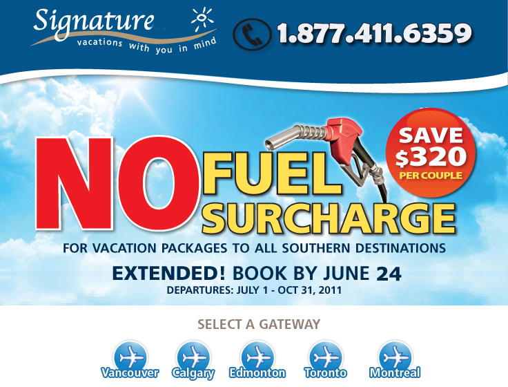 Signature Vacations No Fuel surcharge Deals