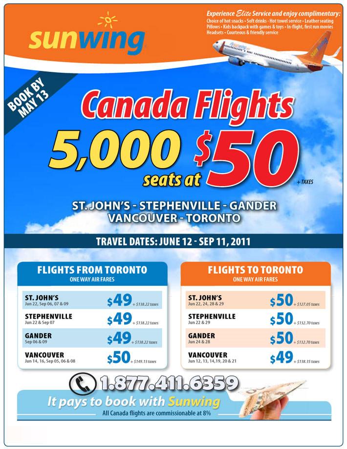 Sunwing Vacations Specials - Cheap Canada Flight Deals