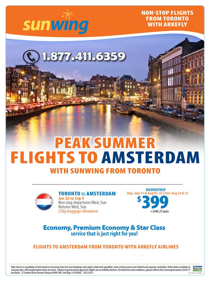 Sunwing Vacations Peak Summer Europe Flights All