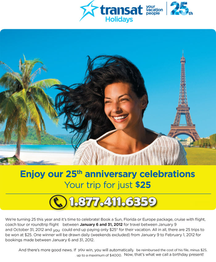 Transat Holidays 25th Anniversary Sale Your Trip For