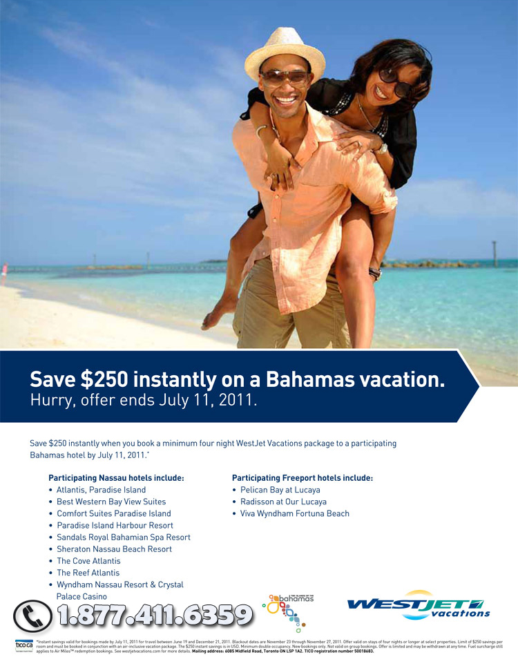 Save $250 on a Bahamas Vacation with Westjet Vacations