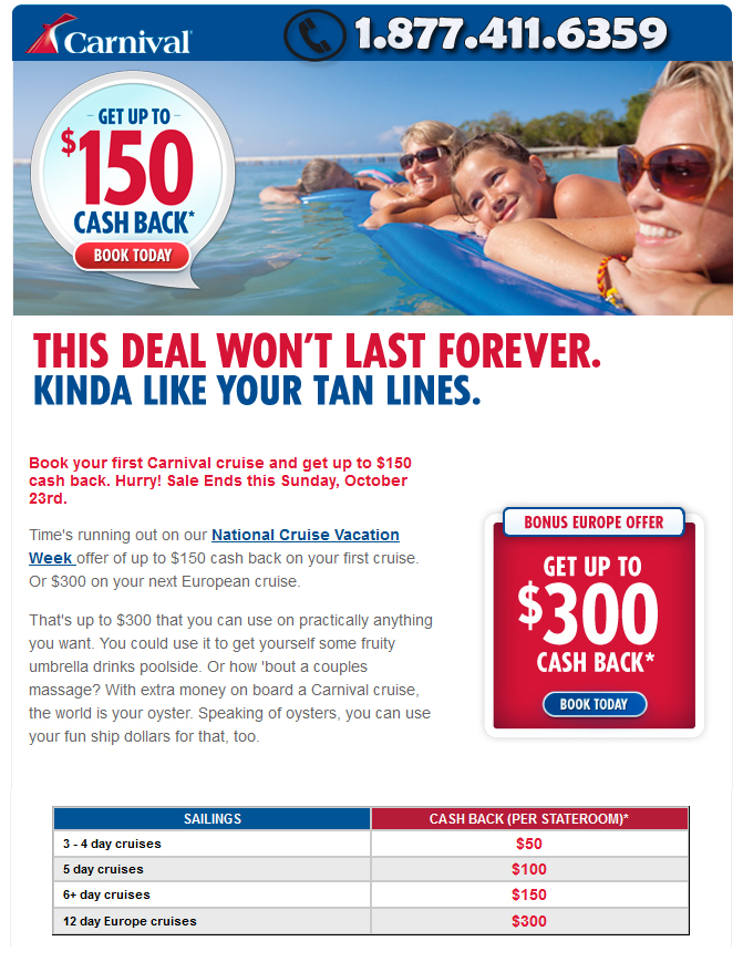 Carnival Cruises cash-back Deals