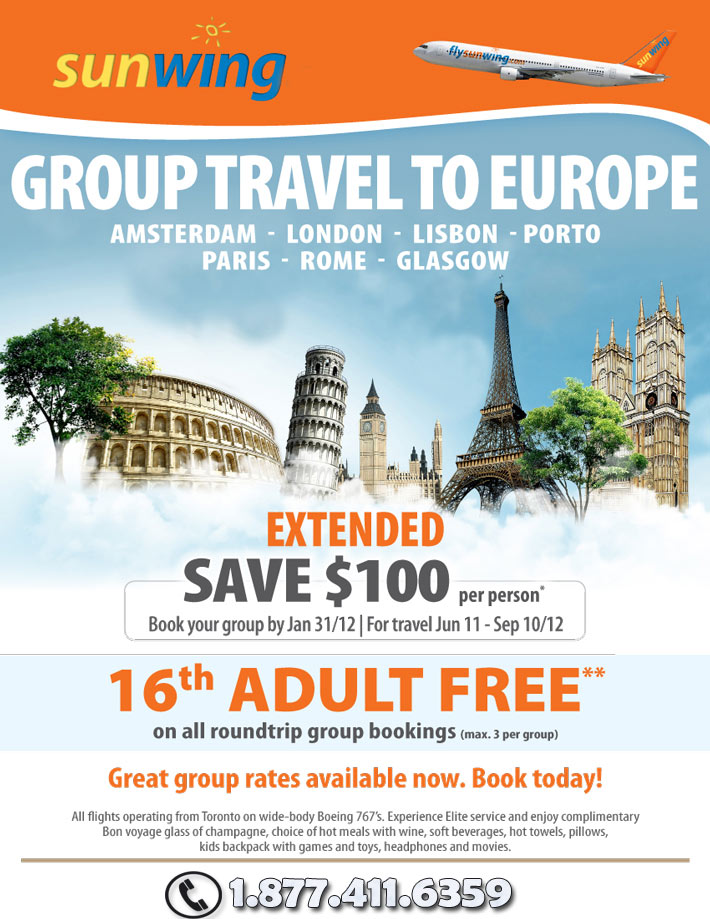 Sunwing Vacations Specials - Groups Deals to Europe