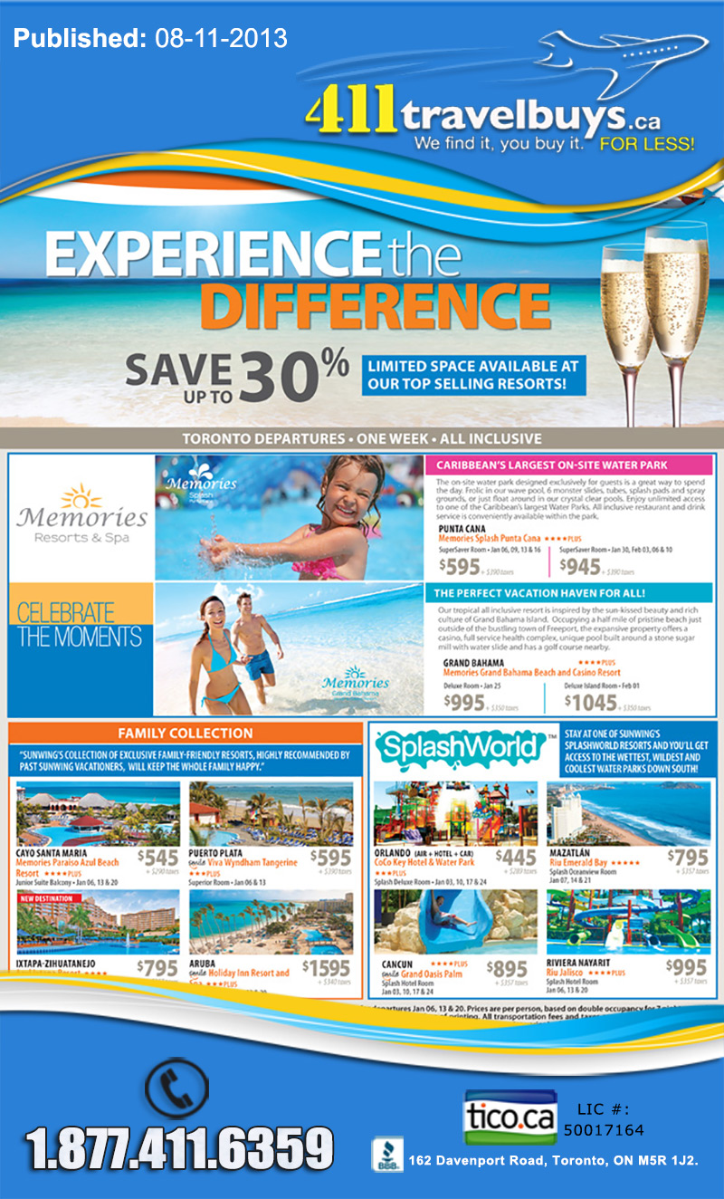 Sunwing Vacations Experience The Difference Save Up To