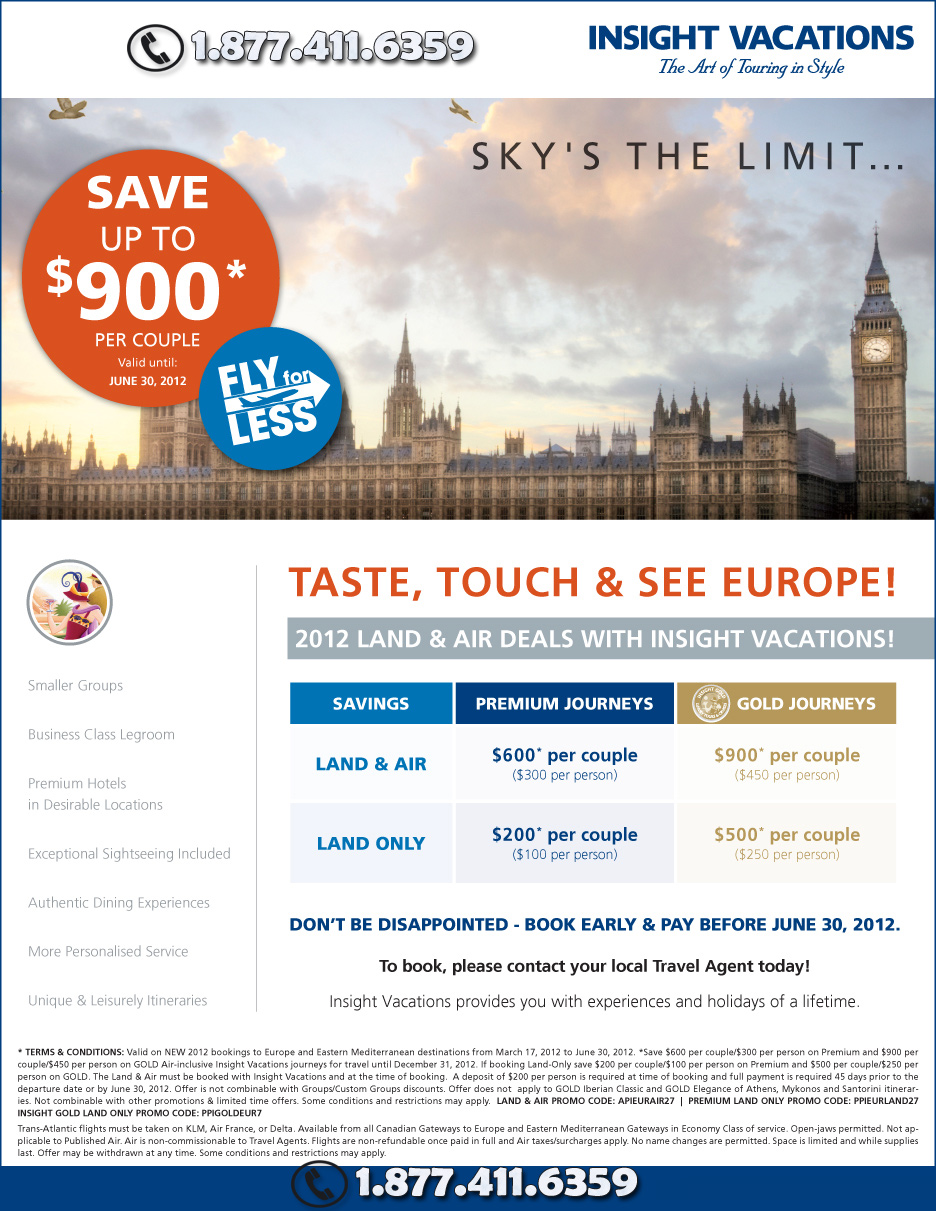 Huge Savings on Insight Vacations Europe Tours