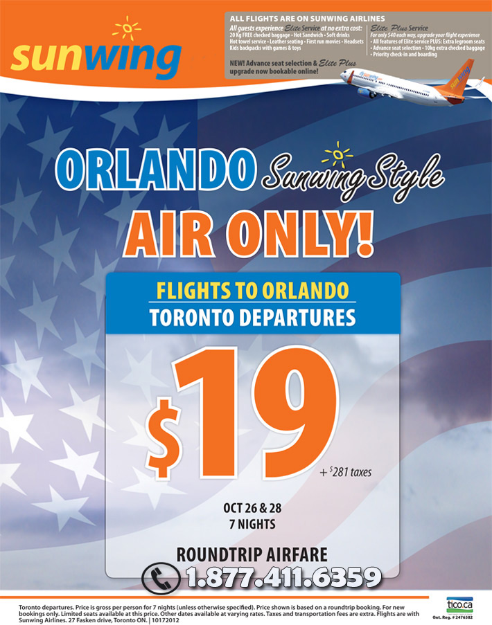 Sunwing Vacations Specials - Cheap Orlando Flight Deals from Toronto