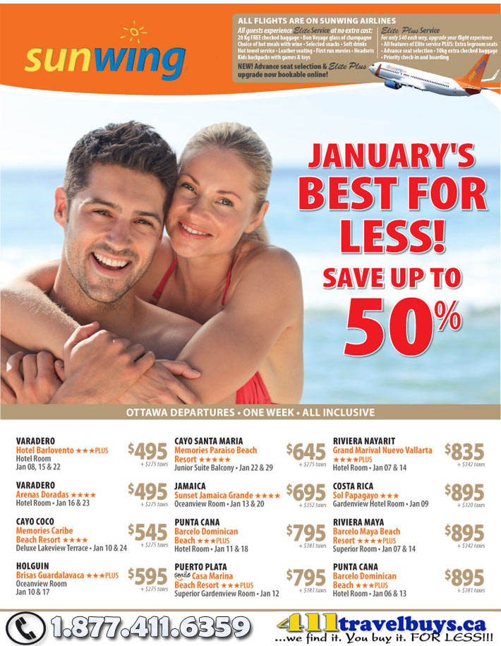 Sunwing Vacations January Best For Less Save Up To 50