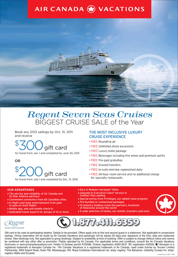 Regent Seven Seas Deal with Air Canada Vacations