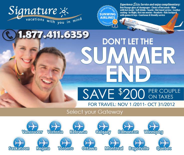 Signature Vacations Summer Deals