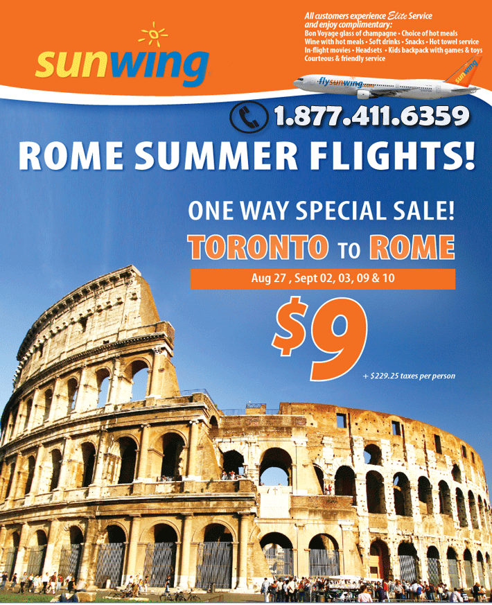 Sunwing Flight Deal to Rome