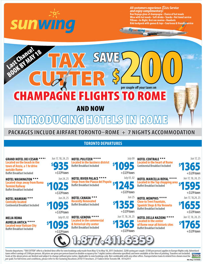 Sunwing Airlines Specials - Tax Cutter on Europe Hotels