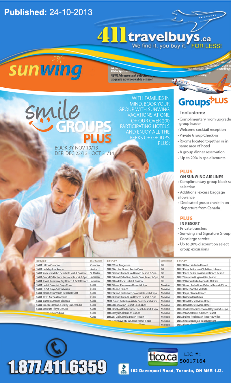 Sunwing Groups Deal