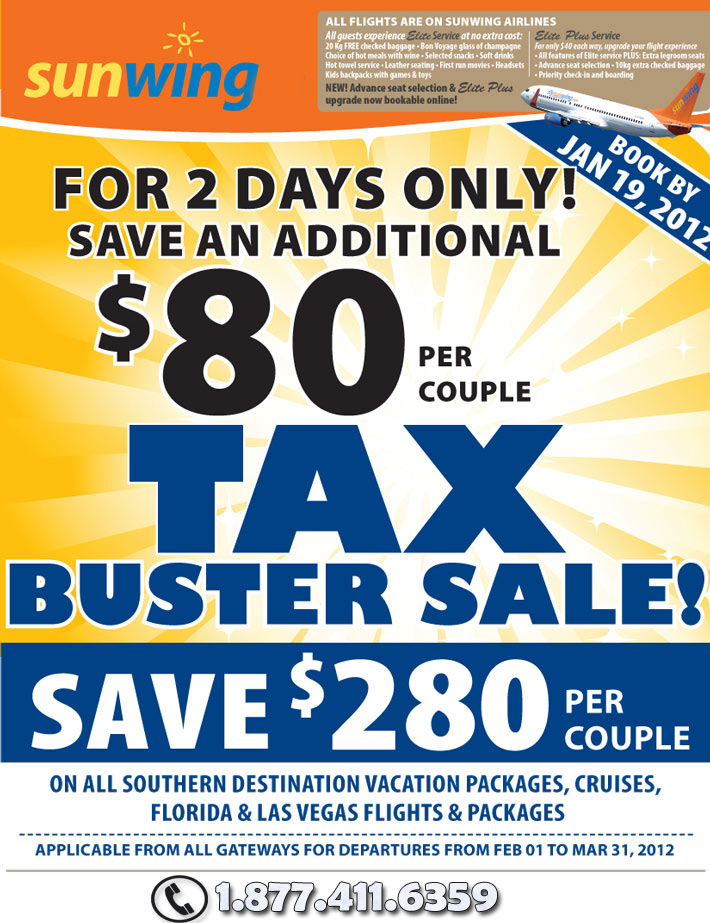 Sunwing Airlines Specials - Tax Buster Sale on Canada and Europe flights