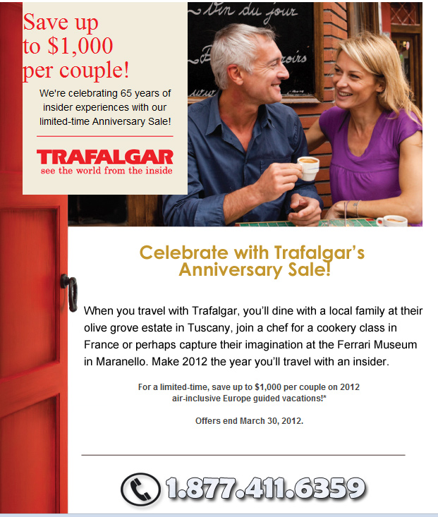 Trafalgar 65th Anniversary Sale