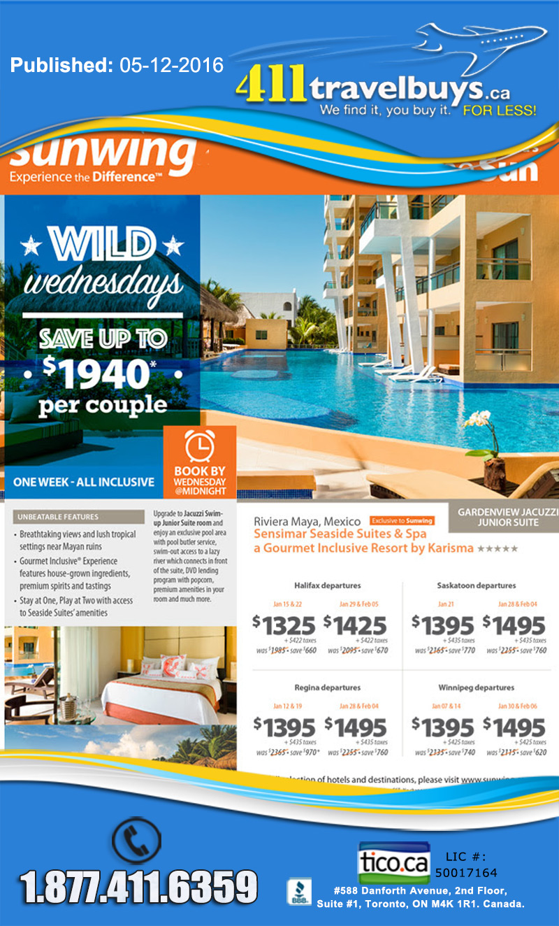 Sunwing wild wednesday sunwing vacations cheap last for Cheap mini vacations for couples
