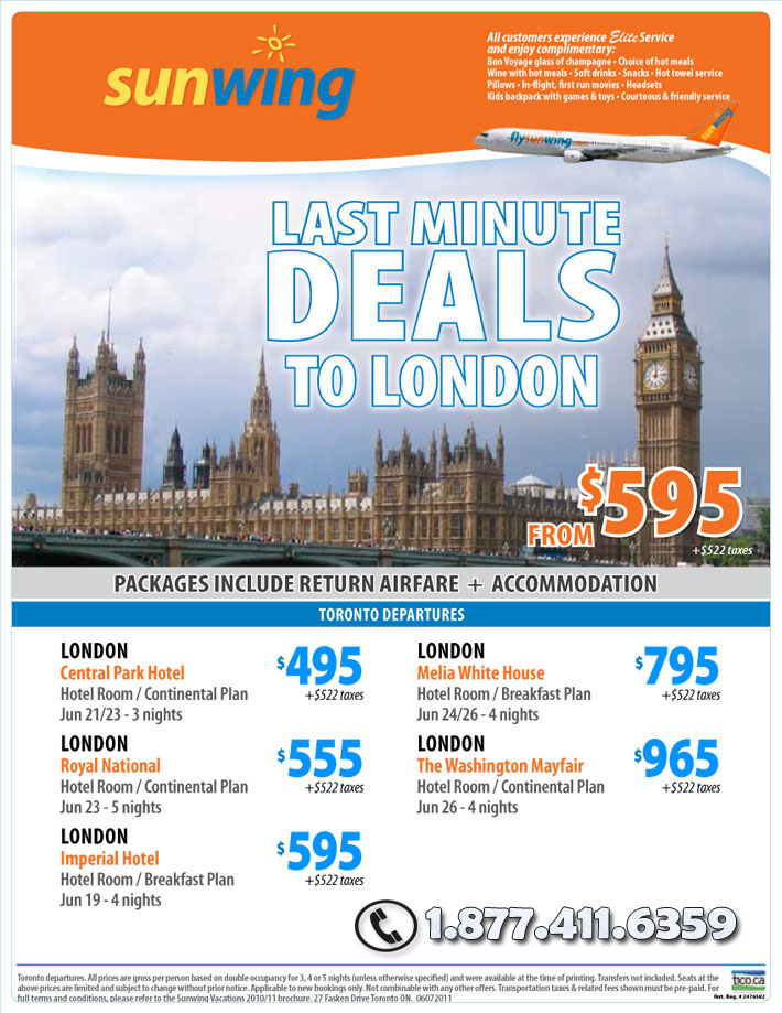 Last minute all inclusive travel deals from toronto